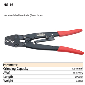 Image 5 - HS 16 Crimping Pliers Cable Lug Crimper Tool Bare Terminal Wire Plier Cutter 1.25 16 Square Millimeter Cutters Cutting Hand Tool