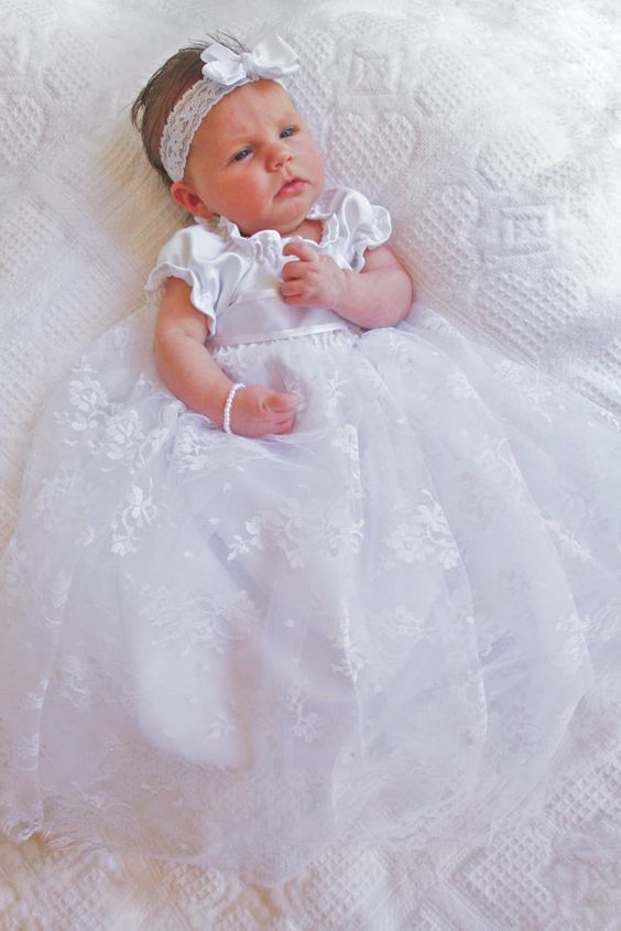 2016 Baby Girl Boy Infant Toddler Handmade Christening Dress Baptism Gown Lace WITH HEADBAND First Communion Dress 0-24month newborn baby christening gown infant girl s white princess lace baptism dress toddler baby girl chiffon dresses hat 2pcs set