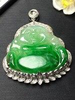 Тонкой ювелирной коллекции Настоящее 18 К белого золота естественный зеленый драгоценный камень нефрит Майтрейя Bouddha Jade Pendant Цепочки и ожере
