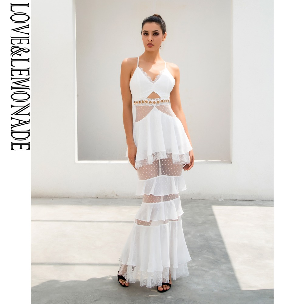 Love Lemonade White Layered Flounced Chiffon Lace Long Dress LM0928