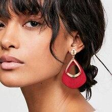HOCOLE Vintage Wood Female Drop Earrings 2019 Za Gold Metal Geometric Wooden Dangle For Women Fashion Jewelry Brincos