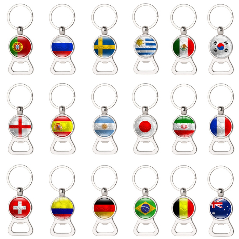 1 pcs Russia Football Game Beer Bottle Opener Keychains With Flag Fans Souvenir Car Key holder Men New 2018