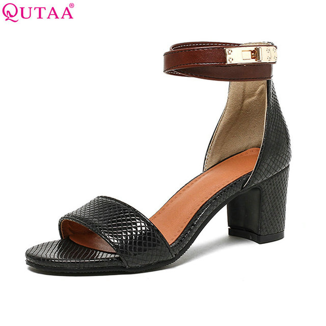 QUTAA 2017 Women Sandals Square Med Heel String Mixed Color Platform Women Shoes Ankle Strap Ladies Wedding Shoes Size 34-43