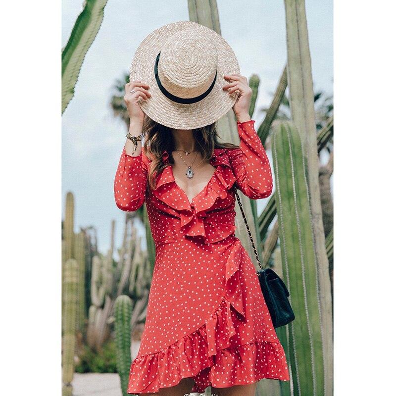 abd39f8e4729 BRADELY MICHELLE Summer Dress vestidos verano 2018 Vintage Sexy Long Sleeve  Ruffles Mini Printed A One