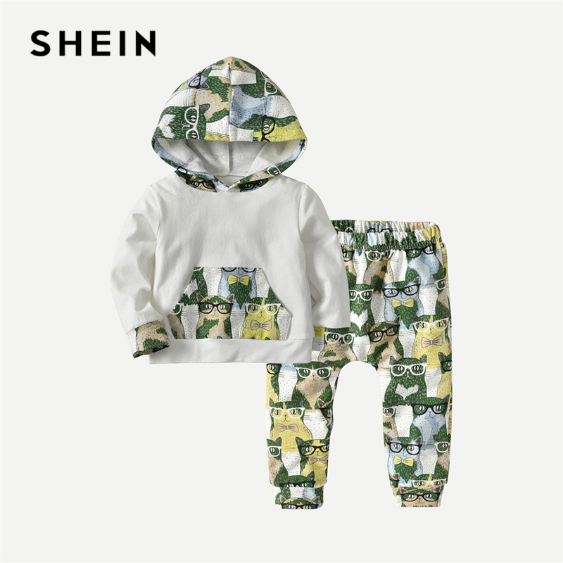 SHEIN Kiddie Toddler Boys Cat Print Casual Hoodies With Pants Kids Sweatshirt 2019 Spring Long Sleeve Pocket Boys Clothes Sets feather print sweatshirt