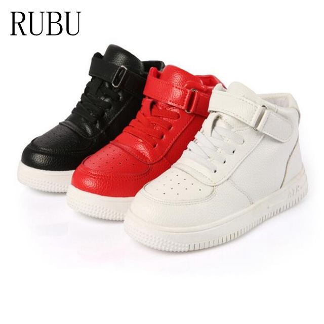 2018 Spring Casual Children Shoes Sneakers Leather High Help Waterproof Black red Kids Boots Boys Girls Shoes ...