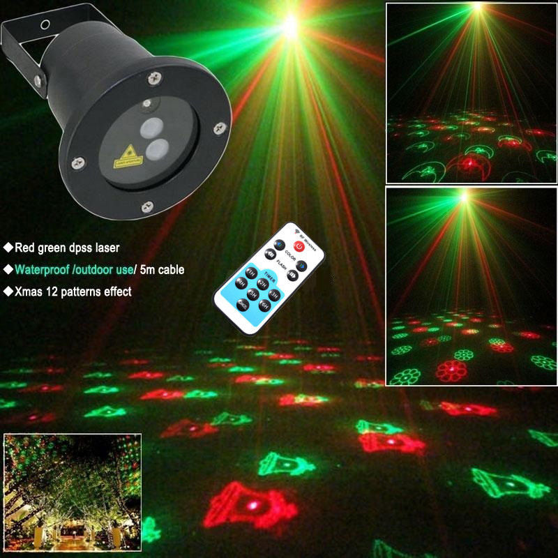 EU Plug Stage Lighting Effect Outdoor Landscape Garden LED Laser Light Projector Holiday Christmas 12 Gobo   ALI88