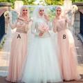 Charming Muslim Dubai Long Sleeve Bridesmaid Dress Vintage High Neck A Line Arabic Bridesmaid Dress vestido madrinha longo
