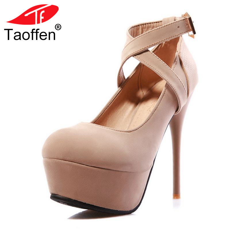 TAOFFEN New High-Heeled Shoes Woman Pumps Wedding Shoes Platform Fashion Women Shoes Red High Heels Mujer Footwear Size 34-43 taoffen women high heels shoes women thin heeled pumps round toe shoes women platform weeding party sexy footwear size 34 39