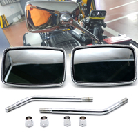 Motorcycle Rearview Mirrors Retro ABS Plastic Silver White Len Side Mirror For Yamaha Vmax 1200 1700 SR400 Suzuki Intruder