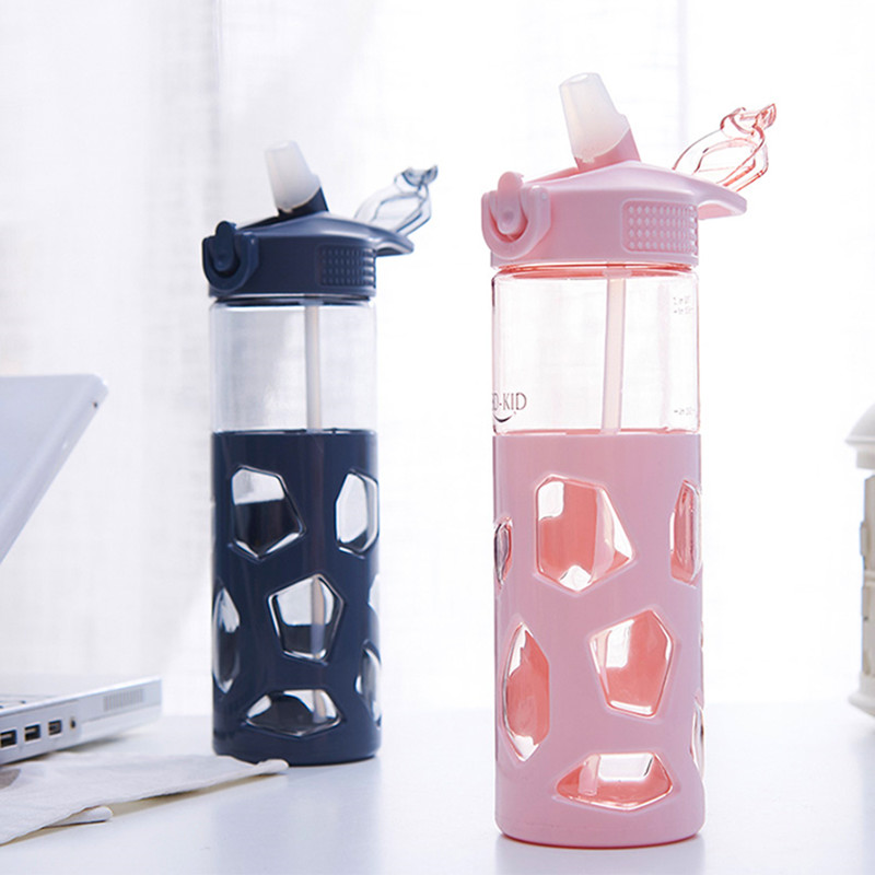 700ml Fashion Straw Water Bottle with Anti scalding Case BPA Free Bouncing Cover Sport Juice Coffee Tea Camping Bottles-in Water Bottles from Home & Garden on AliExpress