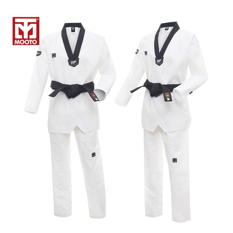 MOOTO WTF Dobok Taekwondo Uniform Kukkiwon Korea Taekwondo Dobok with Special Fabric cooton black -v neck