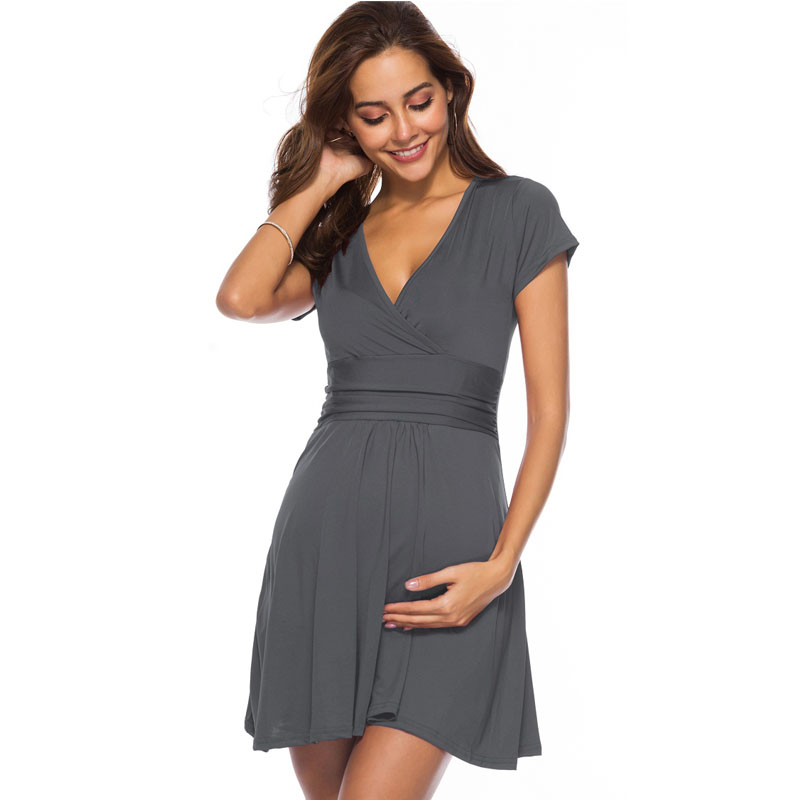 High Waist V-neck Gravidas Vestidos Short Sleeve Dress Maternity Clothes For Pregnant Women Dresses Pregnancy Clothing Summer