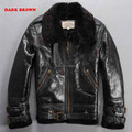 Vietnam War  jersey Army color Men's leather jackets Lambs wool Lapel Quilted Scrub Cowhide Men's fur jacket