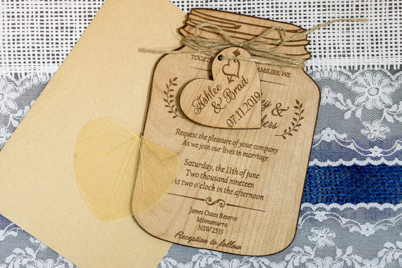 Real Wood Wedding Invitation Mason Jar, Mason Jar Wedding invitations, Rustic Wedding invitation Suite Laser cut invi