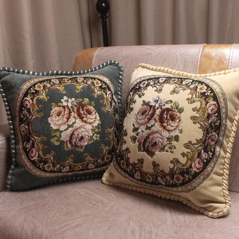 CURCYA Chenille Jacquard Bestickte Luxus Kissenbezüge für Wohnzimmer Sofa / European Royal Floral Kissenbezug