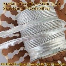 """送料無料 メタリックバイアステープでコード、シルバーカラー、バイアス配管テープ、サイズ: 12ミリメートル* 72yds、1/2 """"、diyメタリック配管バイアステープ"""