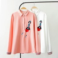 2018 New Spring White Tops Blouses Thin Loose Plus Size XXXL Women Korean Version Beautiful Embroidery