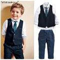 Novos Meninos Do Bebê Roupas de Lazer Define Camisas + Colete + Calça + Gravata 4 Pcs Roupas Cavalheiro Terno para Casamentos Roupas formais CF488