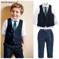 Nuevo Bebé Niños Ocio Ropa Conjuntos Camisetas + Chaleco + Pantalones + Corbata 4 Unids Ropa Gentleman Traje de Bodas Ropa Formal CF488