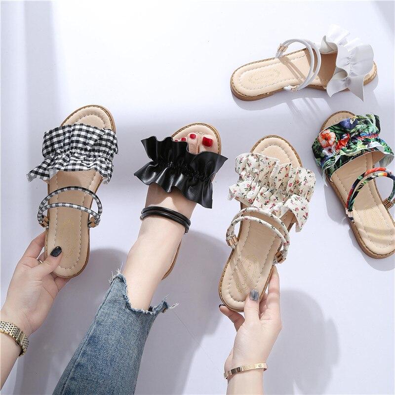Imprimer Plage Usure Flip Chaussures Plat blanc En vert Feminino Femme Volants Doux Des Sandales Air Slip Plein Sur D'été Flops gris Deux Noir 6qYxFwEt