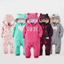 2018 Осень Зима теплые детские комбинезоны для мальчиков одежда из кораллового флиса для маленьких девочек костюм животных комбинезон