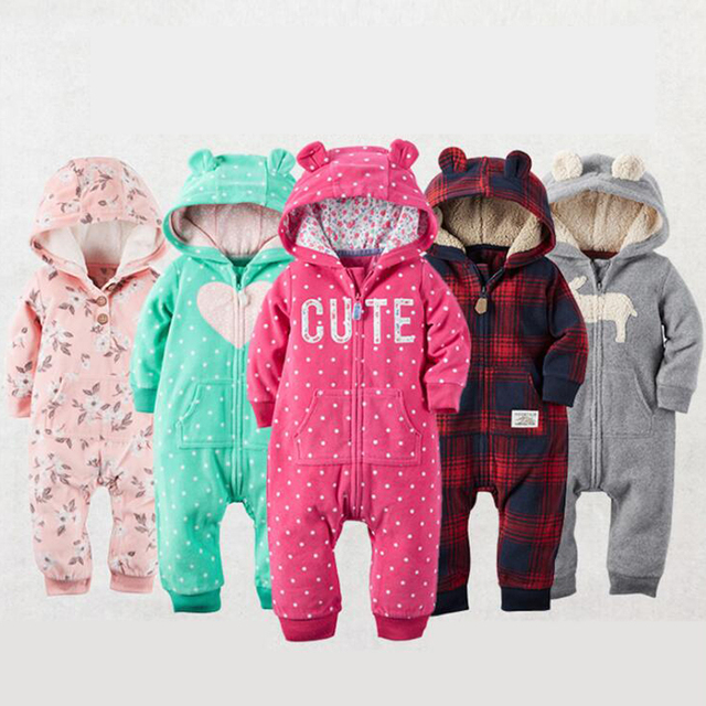 063dfaea9 2018 Autumn Winter Warm Baby Rompers Baby boys clothes Coral Fleece ...