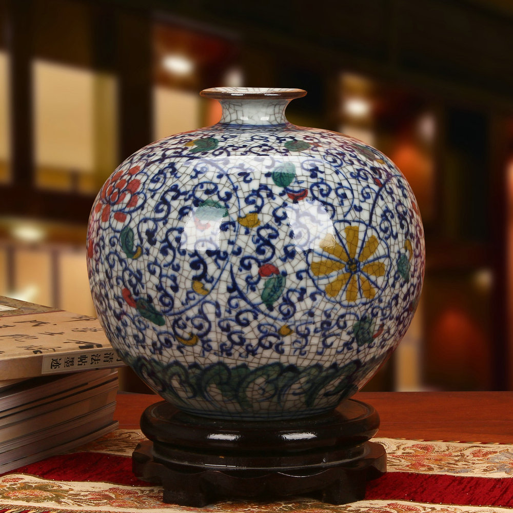 Jingdezhen ceramic vase ornaments antique imperial crack glaze colorful jewelry Home Furnishing pomegranate