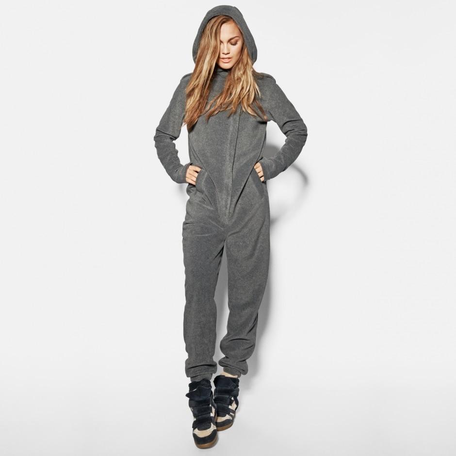 Men And Women's Hooded Union Suit Sweatshirt  Pullovers Fleece Hoodie Jumpsuit Overalls Onesie One-piece Suits Sleeper Pajamas