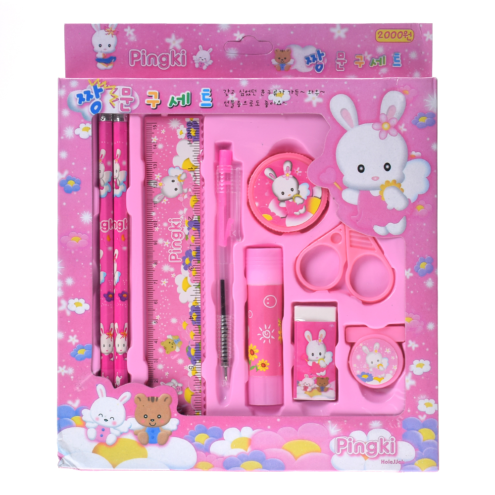 Cartoon Kawaii notebook Pencil Ruler Earser Sharpener 8 In 1 Stationery Set