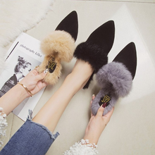 big size41 high heels pumps mules women shoes fur Winter new cloth art slippers womens fine black Pointed Toe Plush