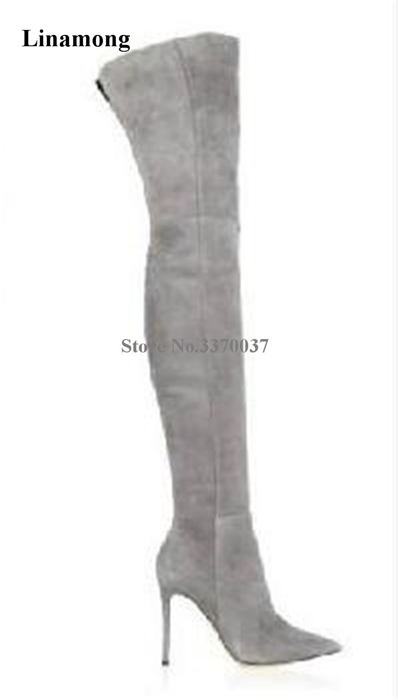 Ladies Sexy Pointed Toe Suede Leather Over Knee Thin Heel Boots Grey Beige Blue Slim Long High Heel Boots Club Dress Shoes