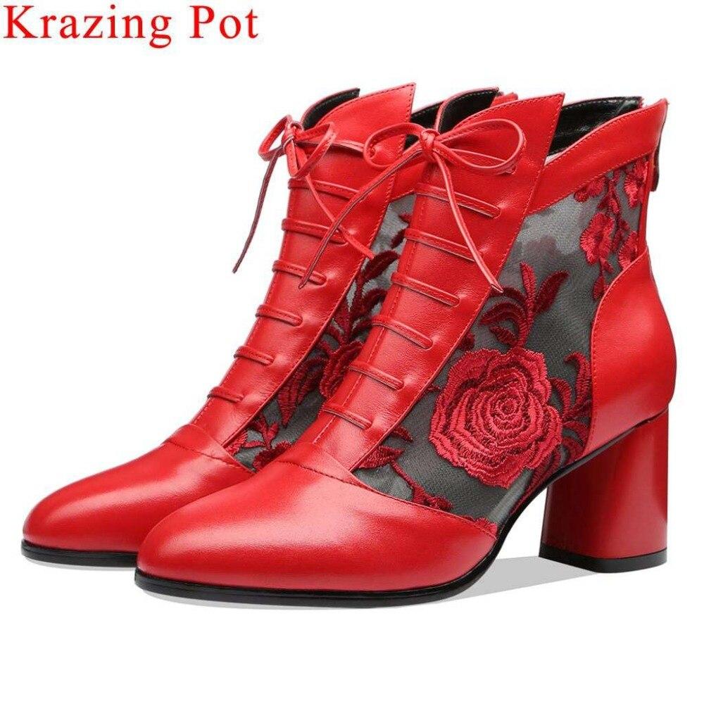 Krazing Topf elegante natürliche leder metall zipper runde kappe blume stickerei dicken high heels neue mode sommer stiefeletten L03-in Knöchel-Boots aus Schuhe bei  Gruppe 1