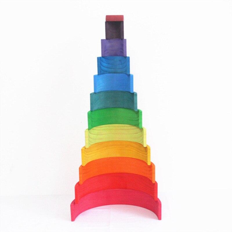 12 pièces arc-en-ciel blocs jouets en bois pour enfants enfant créatif Montessori blocs de construction arc-en-ciel empileur jouet éducatif cadeau