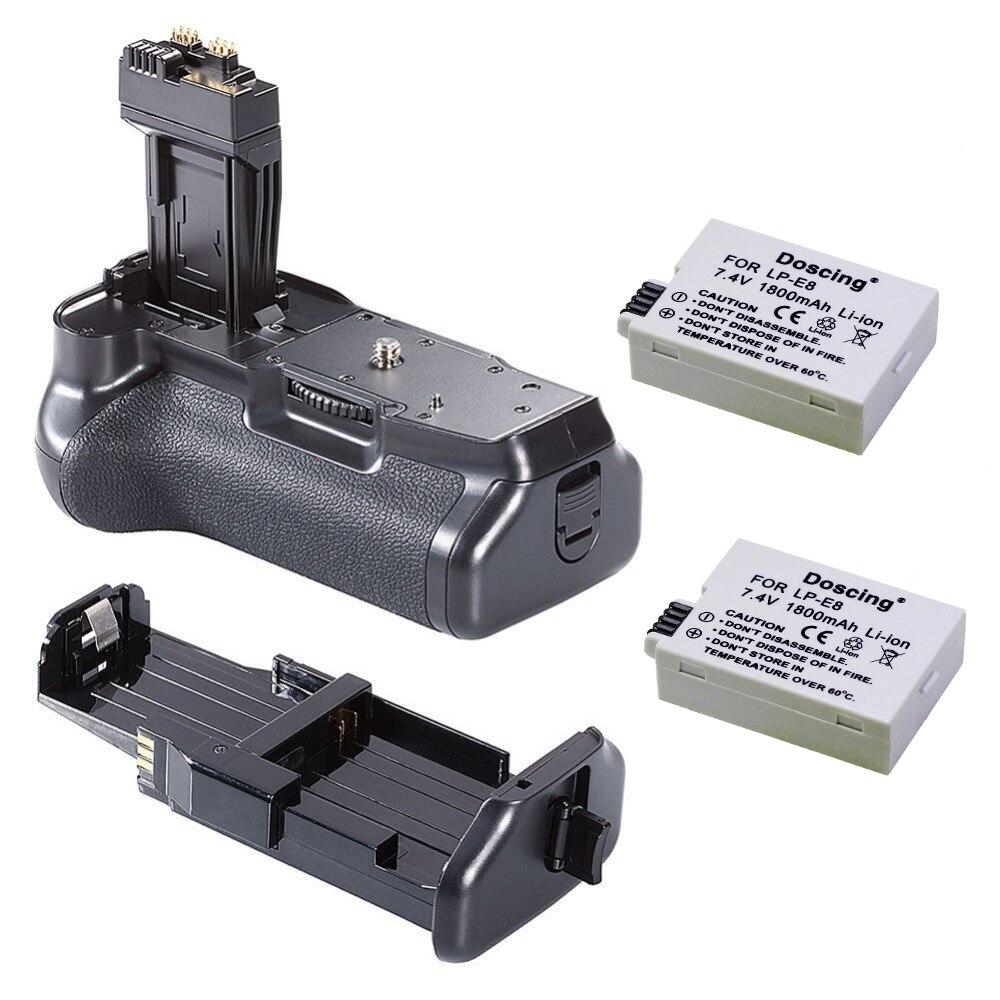 2 pièces 7.4 V 1500 mAh LP-E8 batterie Appareil Photo avec Caméra Batterie grip pour Canon 550D 600D 650D 700D T2i T3i T4i T5i DSLR Caméra