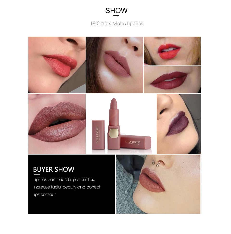 מיס רוז מט שפתון קוסמטיקה איפור עמיד למים שפות לחות קל ללבוש איפור שפתיים מקלות שפתונים גלוס