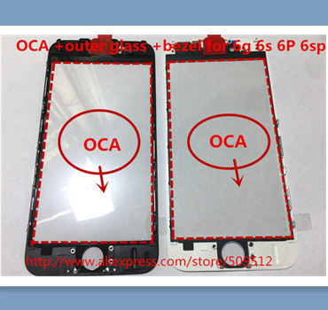 20pcs A quality Outer Glass with Bezel Frame with oca For iphone 8 6 6S 6