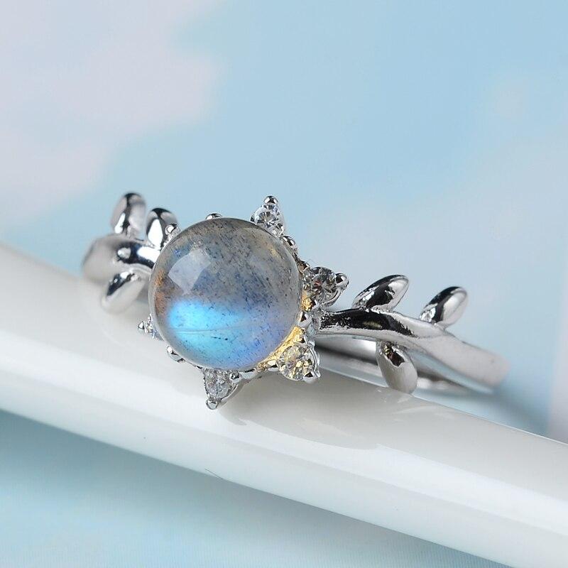 Haute qualité 925 argent Sterling pierre naturelle soleil lune épines clair de lune cristal femelle mode créative à la main anneaux cadeau