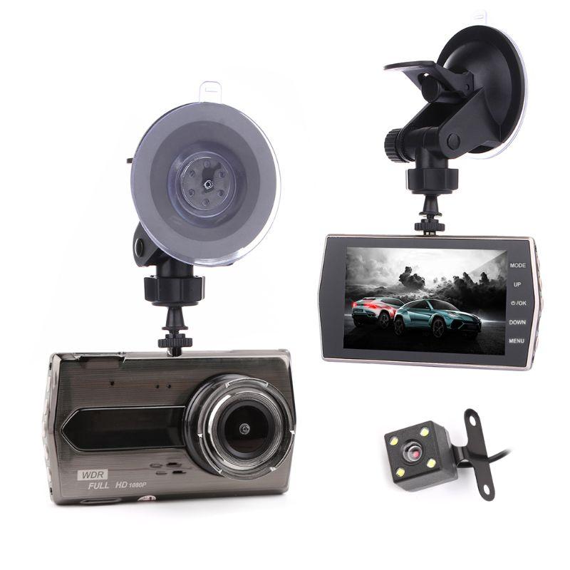 New 1 Set 4 inch IPS Screen Auto Car Dash Cam Dual Lens Car DVR Full HD 1080P Vehicle Camera Driving Recorder With G Sensor