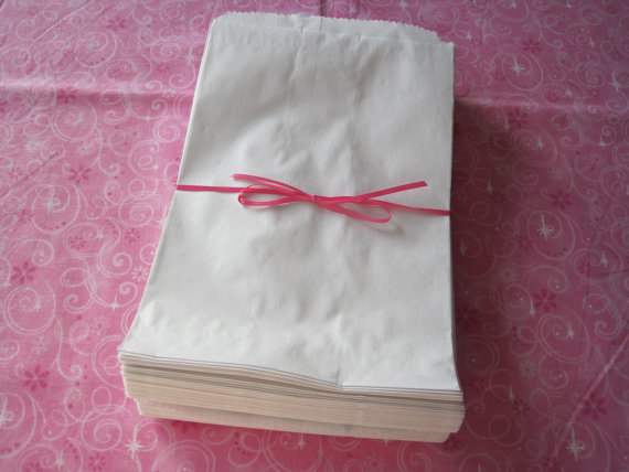100 White Paper Bags, Kraft Gift Bags, Party Favor Bags, Merchandise Bags ...