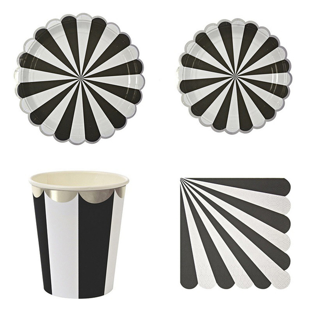 Black White Stripe Disposable Paper Tableware Sets Paper Plates Cups Utensils tissue Napkins Wedding Birthday Party  sc 1 st  AliExpress.com & Black White Stripe Disposable Paper Tableware Sets Paper Plates ...