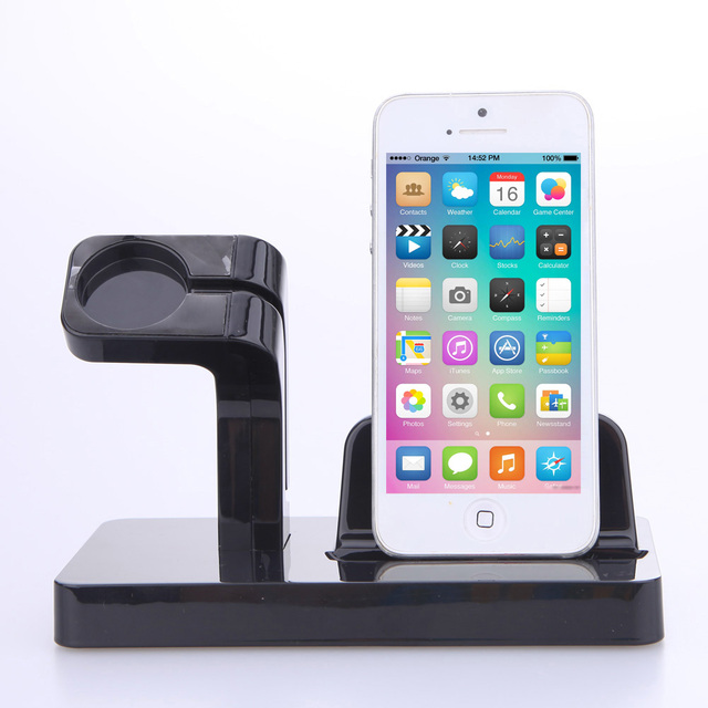 2 en 1 de múltiples funciones del teléfono de soporte de carga del muelle del soporte del soporte de accesorios para apple watch iwatch iphone