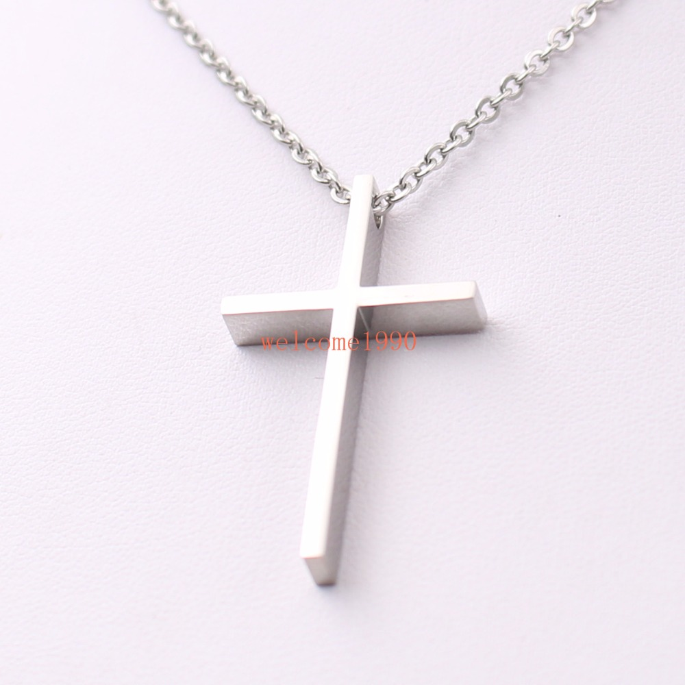 """24/""""MEN/'s Stainless Steel 6mm Silver Box Link Chain Necklace Cross Pendant*A"""