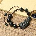 14 100% Natural Dark Green HETIAN Jade Qing Jade Bracelets Pixiu Bracelets Round Beads Bracelets Bangles Men's Jade Jewelry