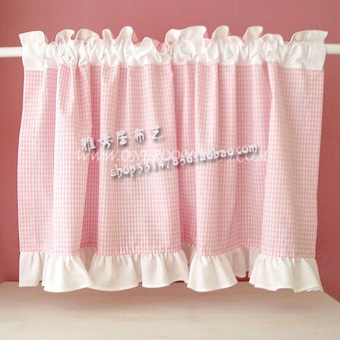 Free Shipping Pink Plaid Flounces Beautiful Short Curtain Kitchen Curtains  For Living Room Bedroom Drapes 40