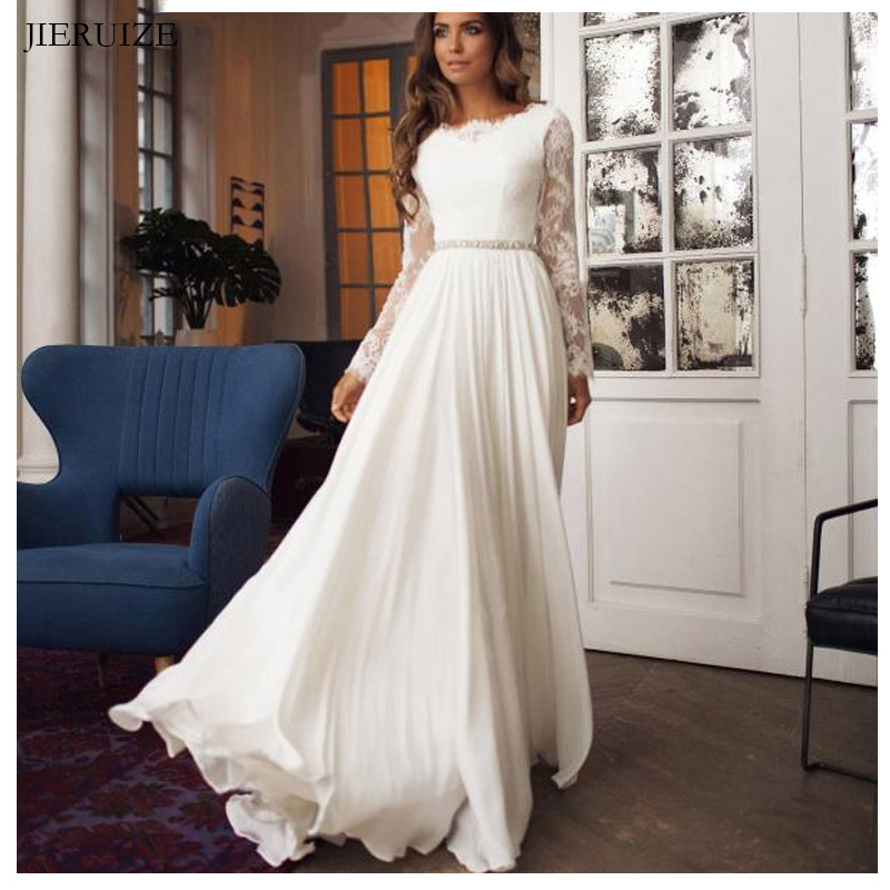 JIERUIZE White Chiffon Lace Backless Boho Wedding Dresses 2019 Long Sleeves Beach Bride Dresses Wedding Gowns Abito Da Sposa