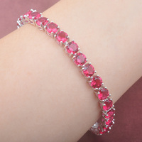 Classic Rose Red Zirconia Round 925 Silver For Women Link Chain Bracelet 7 8 Inch Free