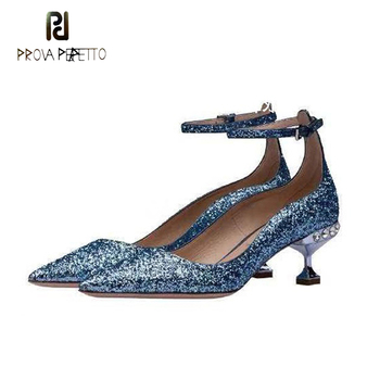 Prova Perfetto crystal stud strange kitten heel slingback women pumps bling sequined pointed buckle ankle strap lady party shoes