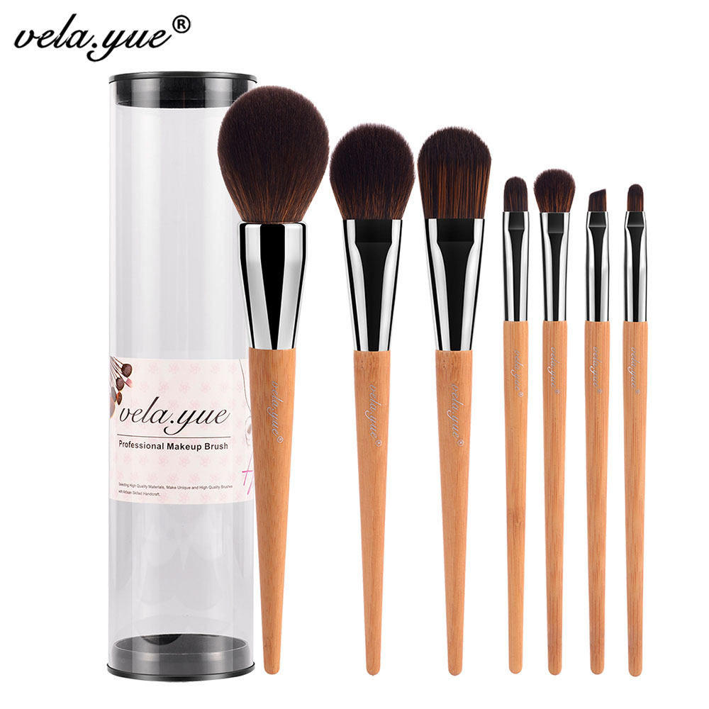 vela yue Pro Makeup Brushes Set 7pcs Travel Face Cheek Eyes Lips Beauty Tools Kit with