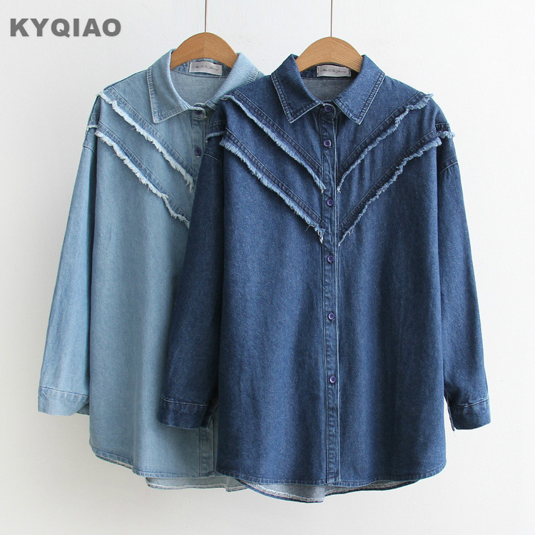Kyqiao Vintage Denim Shirt 2019 Women Autumn Winter Loose Japanese Style Fresh Long Sleeve Cat Embroidery Denim Blouse Blouses & Shirts